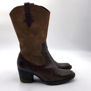 Cowgirl Mid Calf Leather Boots